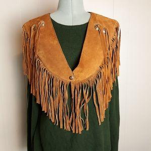 Vintage 90s southwestern boho fringed wrap shawl